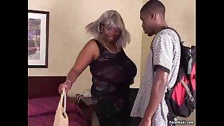 Plumper Black Granny Has Huge Tits