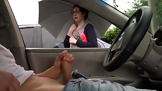 Hard-on flash and girl witnesses me wank off in my car