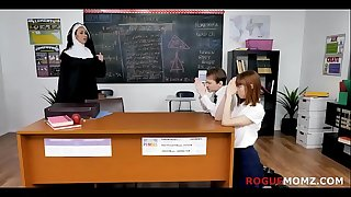 CHRISTIAN NUN turns out to be a UNHOLY SLUT- MILF and STUDENTS