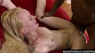 BBC stretches a skinny blonde's pussy