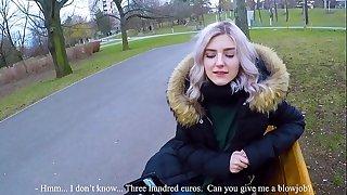Cute teen guzzles hot spunk for cash - extraordinary public blowjob by Eva Elfie