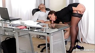 Interracial Bangers presents bossy busty Emma Butt deep-throat horny boy's cock