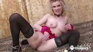 MILF In Tights & Heels Has A Shaking Orgasm