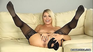 BLONDE ADRIANA CHECHIK SQUIRTS WHILE SATISFYING HER PUSSY
