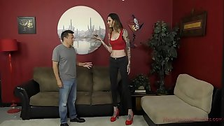 6 Foot 3 Rocky Emerson Dominates Her Brief Roomate - Female dom & Ass Worship