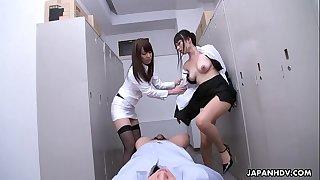 Office sluts Yui Hatano and Yoshimi Saaya share a dick