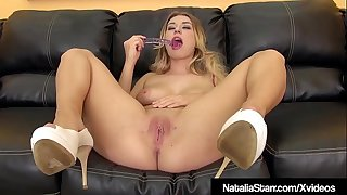 Sexy Blonde Natalia Starr Creams While Fake penis Fucking!