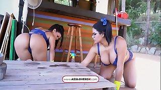 Threesome Sheila Ortega and Kesha Ortega Full Maid Service