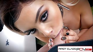 FirstClassPOV - Aaliyah Hadid take a monster cock in her throat, big boobs