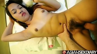 Asian Sex Diary - Nice Filipina struggles taking white cock
