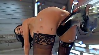hot stunner has trembling orgasms on dildo machine